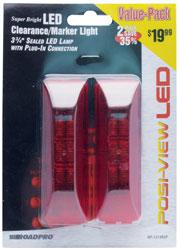 Roadpro RP-1274R2P Led 3-3 - 4 Sld Mrkr Lt. Red - 2 Pack