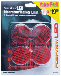 Roadpro RP-1277R4P Led Clrnce - Mrkr Lt.2sealed Red - 4pack