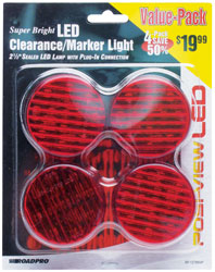 Roadpro RP-1279R4P Led Clrnc - Mrkr Lt with Plug-in Red - 4 Pack
