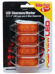Roadpro RP-1445A-4P Low Profile Sealed LED Mkr Lt - Amber - 4 Pk