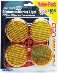 Roadpro RP-1279A4P Led Clrnc - Mrkr Lt with Plug-in Amber - 4 Pack