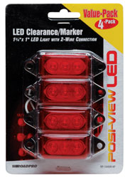 Roadpro RP-1445R-4P Low Profile Sealed LED Mkr Lt - Red - 4 Pack