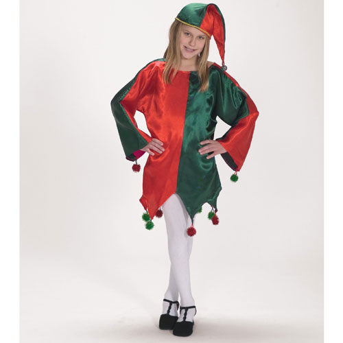 Halco 27323 Satin Jingle Elf Child Costume- Size 4-8
