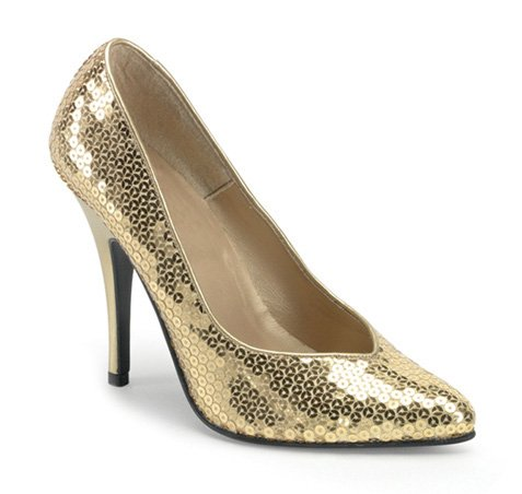 PLEASER 34391 Gold Sequin High heel Adult Shoes Size 6