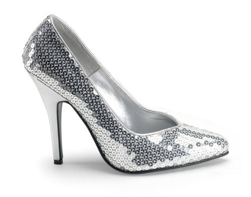 PLEASER 34392 Silver Sequin Adult Shoes Size 7