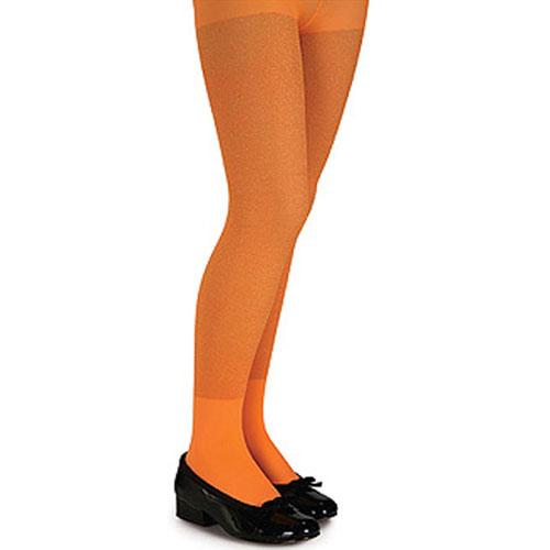 Rubies Costume Co 34562 Orange Glitter Tights - Child Size Large