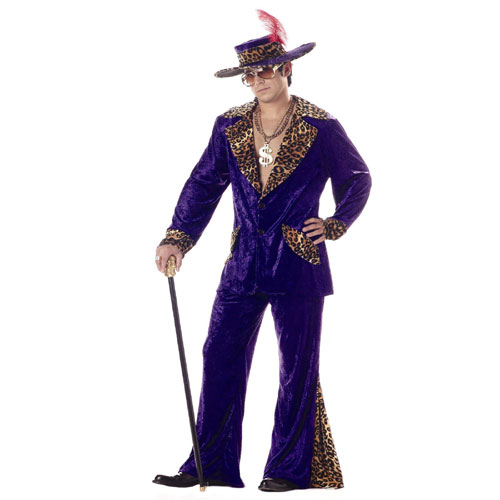 California Costume Collection 17251 Pimp Purple Crushed Velvet Adult Costume Size X-Large- Men Chest Size 46-48