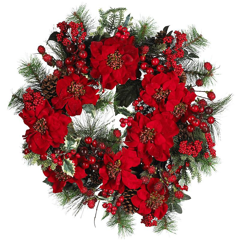 Nearly Natural 4660 24 inch  Poinsettia Wreath- Holiday