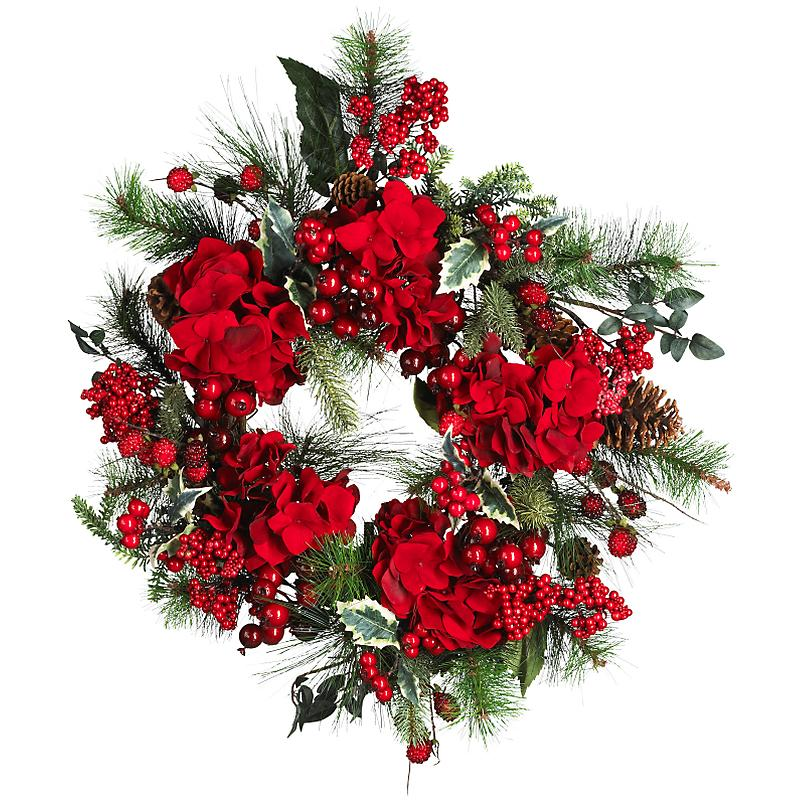 Nearly Natural 4661 22 inch  Hydrangea Holiday Wreath- Holiday
