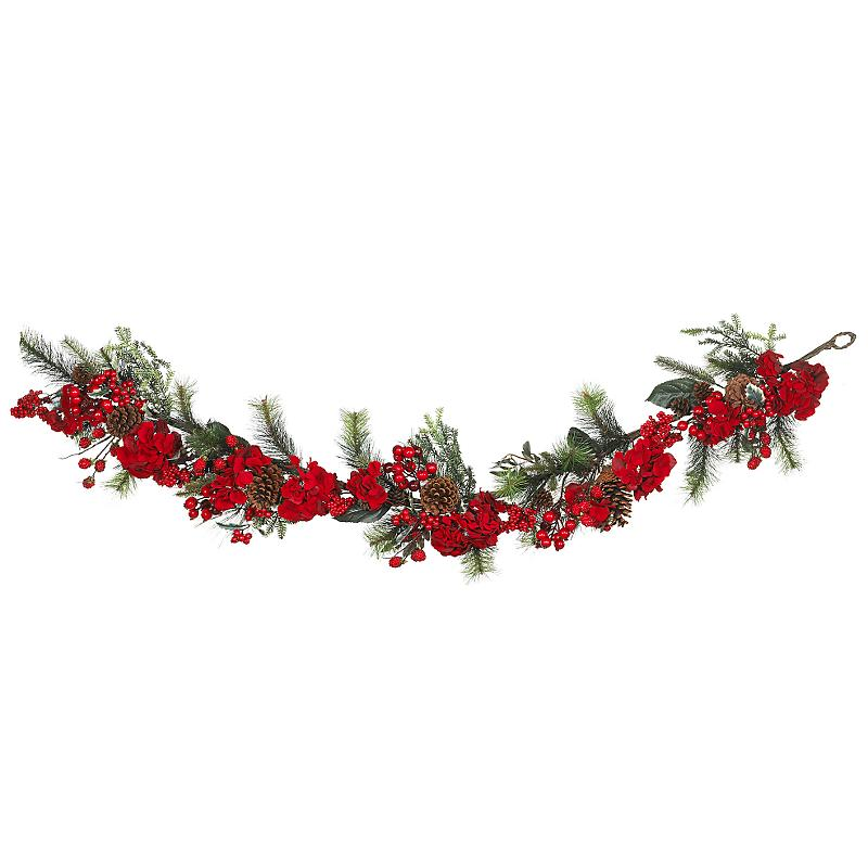 Nearly Natural 4663 Hydrangea Garland- Red- Green