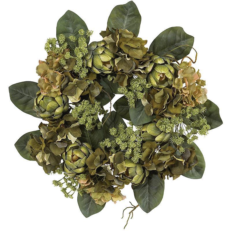 Nearly Natural 4628 Artichoke Wreath 18 inch - Green
