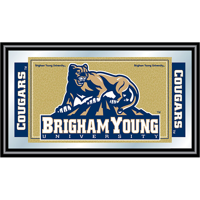 Poker CLC1525-BYU Brigham Young University Logo and Mascot Framed Mirror