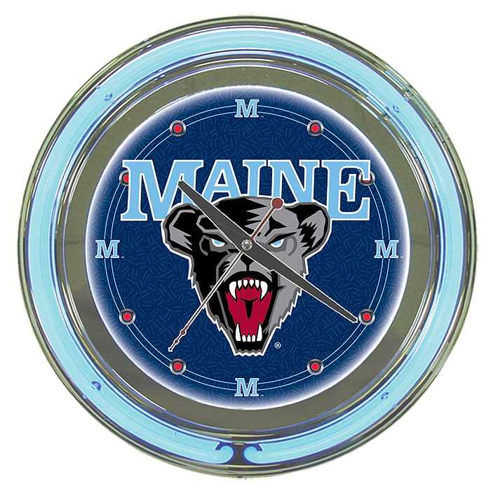 University of Maine Neon Clock - 14 inch Diameter