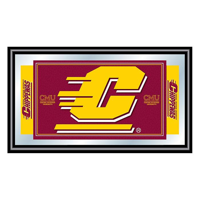 Central Michigan University Logo and Mascot Framed Mirror