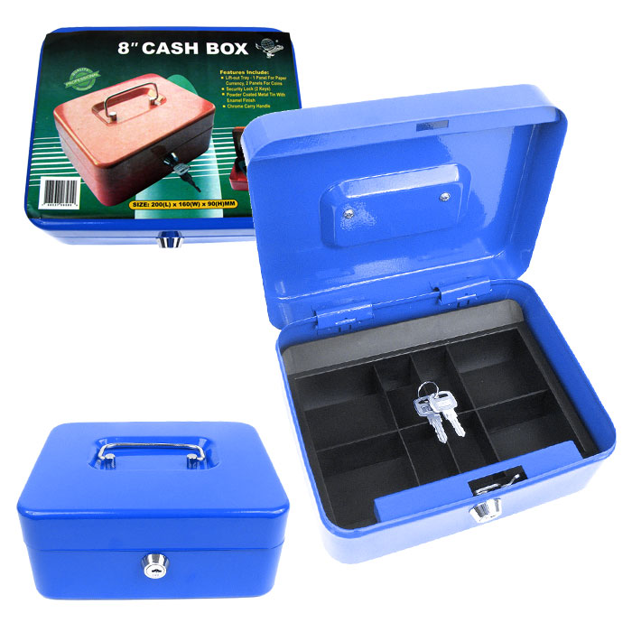 8 Inch Key Lock Blue Cash Box