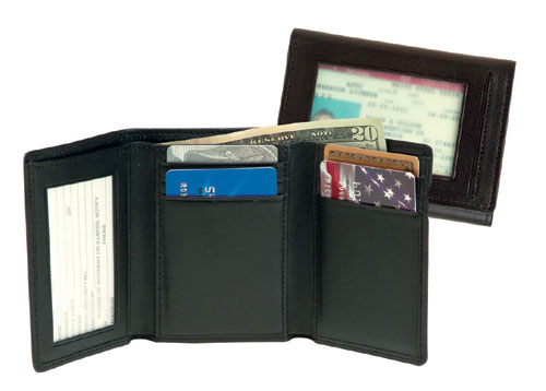 Royce Leather 101-BLACK-5 Men s Tri-Fold With Double ID Window - Black