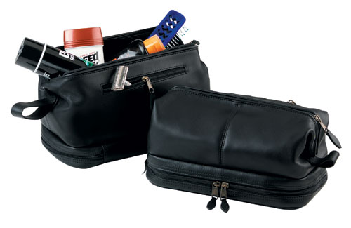Royce Leather 260-BLACK-3 Toiletry Bag and Zippered Bottom Compartment - Black