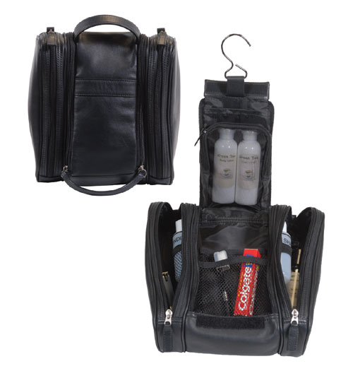 Royce Leather 263-BLACK-6 Deluxe Toiletry Bag - Black