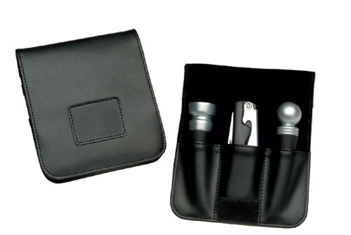 Royce Leather 619-BLACK-6 Wine Accessory Valet - Black
