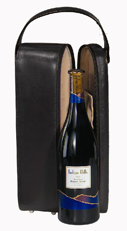 Royce Leather 621-BLACK-10 Single Wine Presentation Case - Black
