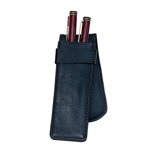 Royce Leather 913-BLACK-5 Double Pen Case - Black
