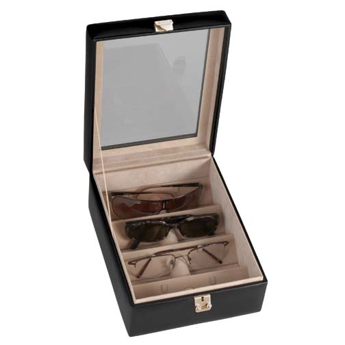 Royce Leather 931-BLACK-5 4 Slot Eyeglass Box - Black