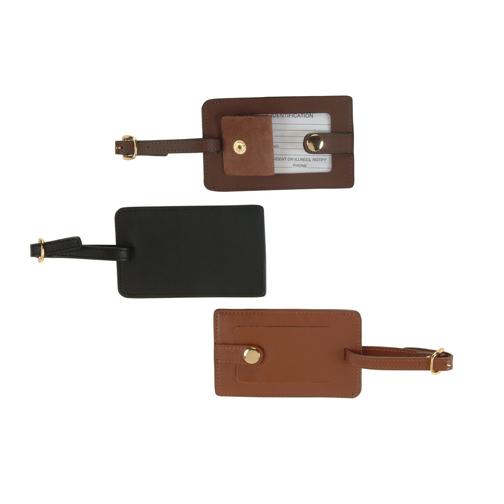 Royce Leather 951-BLACK-6 Snap Luggage Tag - Black
