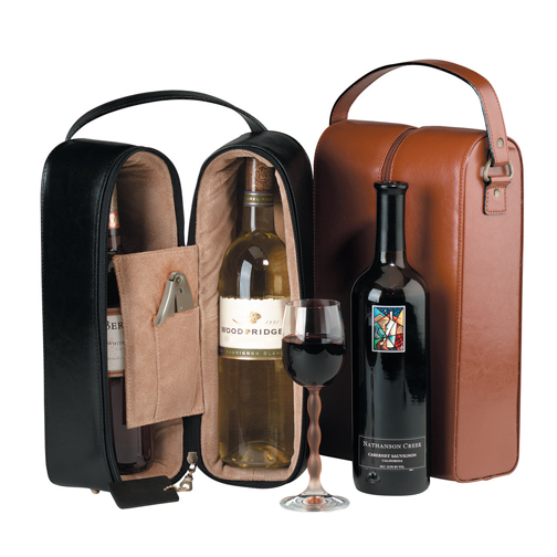 Royce Leather 622-BLACK-6 Double Wine Presentation Case - Black