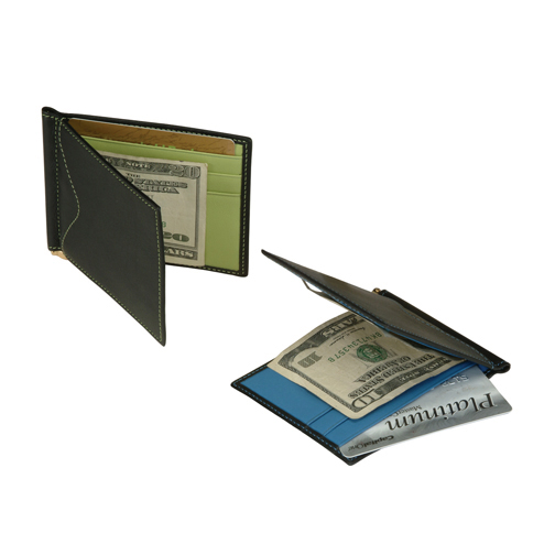 Royce Leather 108-MCKLG-5 Men s Cash Clip Wallet With OutsIDe Pocket - Black with Key Lime Green