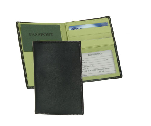 Royce Leather 222-MCKLG-5 Passport Currency Wallet - Black with Key Lime Green