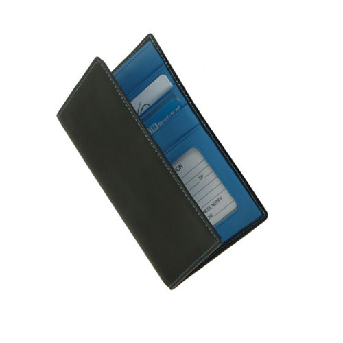 Royce Leather 222-MCRB-5 Passport Currency Wallet - Black with Ocean Blue