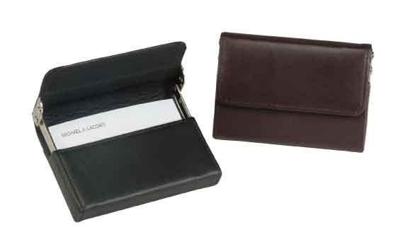 Royce Leather 424-BROWN-5 Horizontal Framed Card Case - Brown