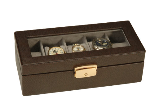 Royce Leather 928-BROWN-6 5 Slot Watch Box - Brown