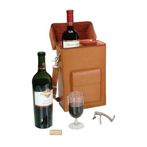 Royce Leather 620-BURGUNDY-8 Connoisseur Wine Carrier - Burgundy