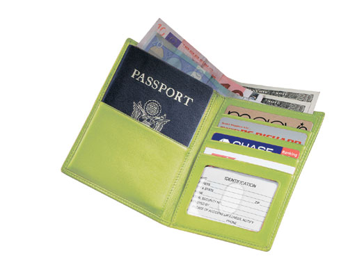 Royce Leather 222-KLG-5 Passport Currency Wallet - Key Lime Green