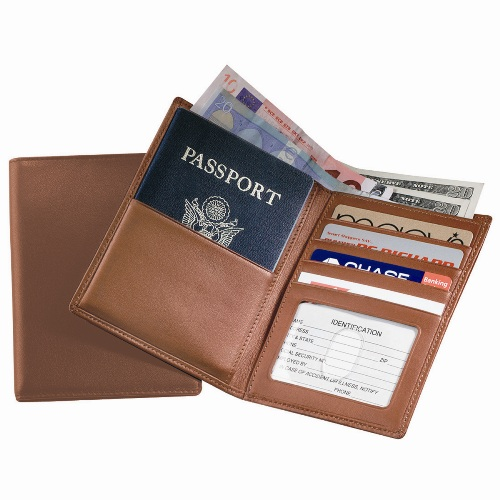 Royce Leather 222-TAN-5 Passport Currency Wallet - Tan