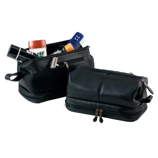 Royce Leather 260-TAN-3 Toiletry Bag and Zippered Bottom Compartment - Tan