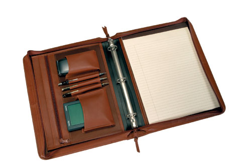 Royce Leather 305-TAN-5 Deluxe Convertible Zip Around Binder / Folio - Tan