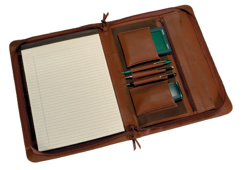 Royce Leather 306-TAN-5 Executive Zip Around Padfolio - Tan