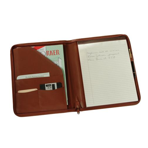 Royce Leather 746-TAN-5 Zip Around Writing Padfolio - Tan