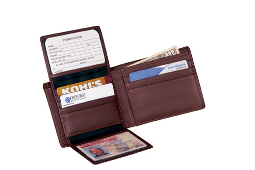 Royce Leather 109A-COCO-5 Euro Commuter Wallet - Coco