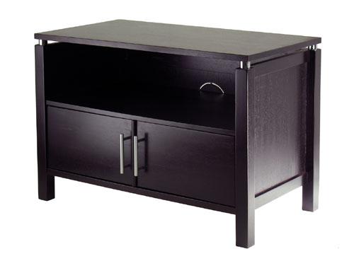 Winsome 92744 Linea TV Stand with Chrome Accent - Espresso