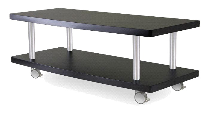 Winsome 93147 Evans TV Stand - Curved Shelf with Casters - Black / Metal