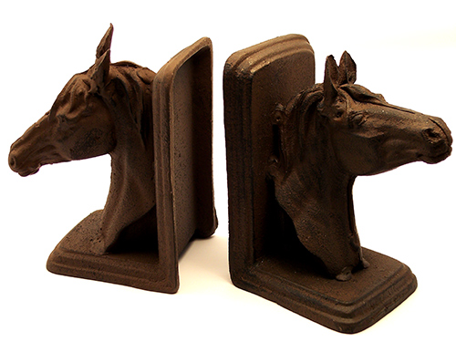 Set of Rust Cast Iron Horse Head Bookends