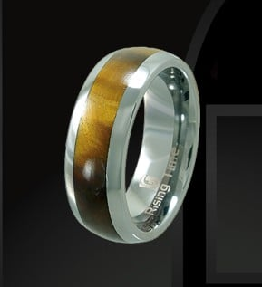 Rising Time TN-3106-sz-9 Tungsten Band With Tiger Eye Stone Inlay Ring Size- 9