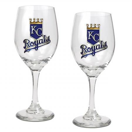 Great American Products Gwgw21134 14 Oz. Wine Glass Set Of 2 Mlb Royals