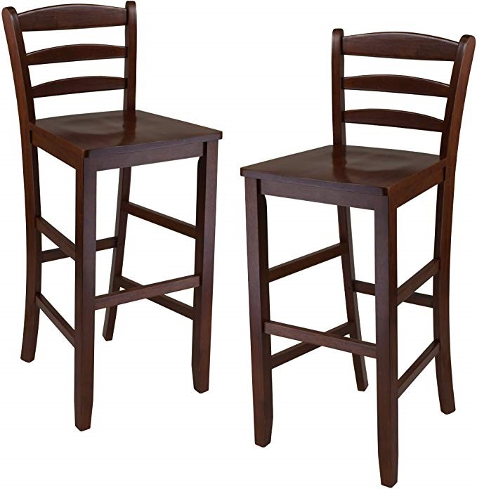 Winsome Trading 94249 Set of 2  30 in. Bar Ladder Back Stool