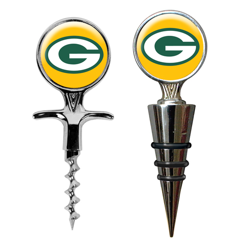 Great American Products Cswsc2019 Cork Screw And Wine Bottle Topper Set Nfl Packers