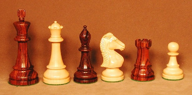 Checkmate 1011R4 Rosewood and Boxwood Chess Pieces with 4 in. King- Double Weighted and Felted