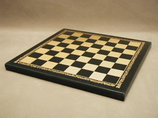 Ital Fama 204GN Pressed Leather Black and Gold Chess Board - 1 in. Square